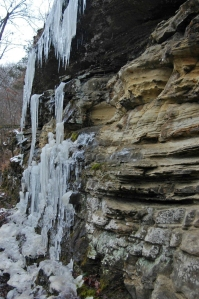 Icicles hang along the many bluffs on the Devil's Den Trail