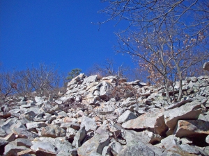 "The ""boulder fields"" on the slopes of Pinnacle Mountain make for interesting hiking."