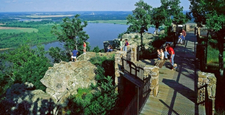 Stout's Point on the East brow of Petit Jean Mountain is a wonderful place to enjoy one a scenic views of the Arkansas River.