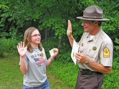 Another young park visitor starts the road to appreciating Arkansas natural and historical treasures.