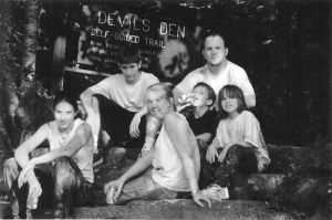 The Author at Devil's Den State Park, back in the day. (center)