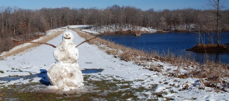 Snowman on the Lake Dunn Dam.