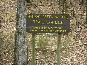 Brush Creek Nature Trail Sign.