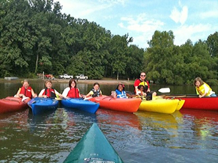 Some of our campers trying out kayaking for the first time.